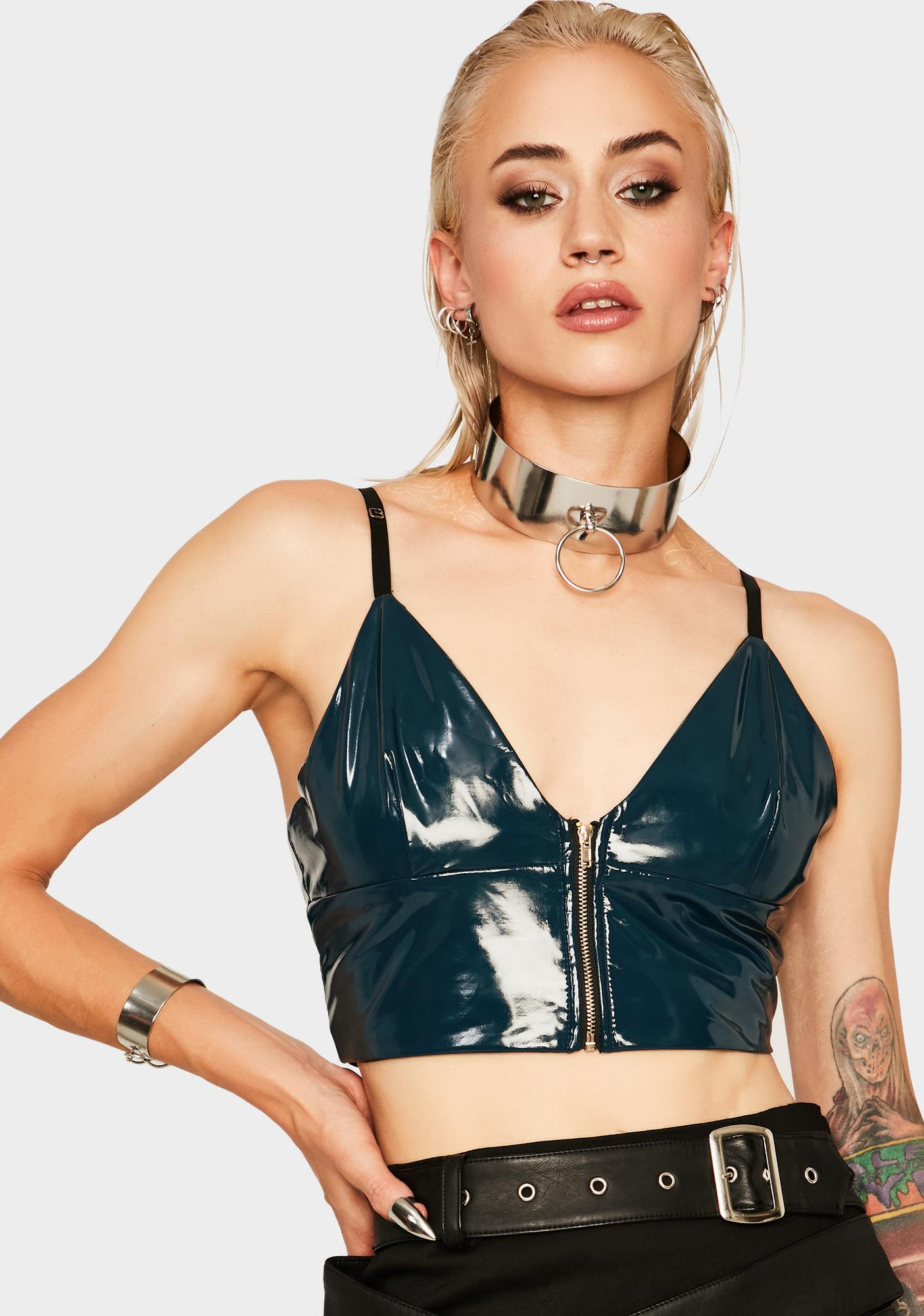 Dream Bandits Australia Wanting It All Vegan Leather Crop Top