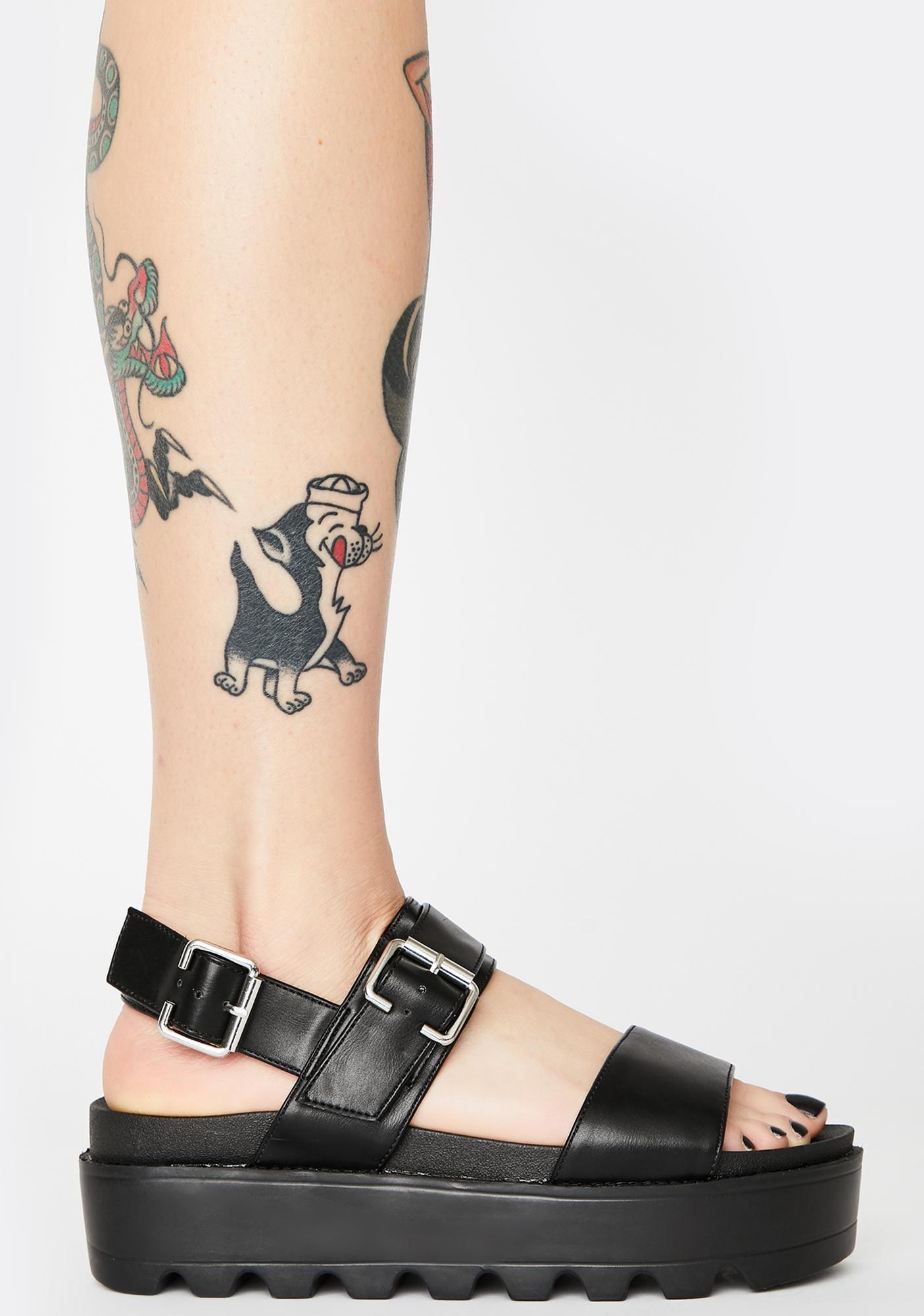 Koi Footwear Black Sitri Chunky Platform Sandals