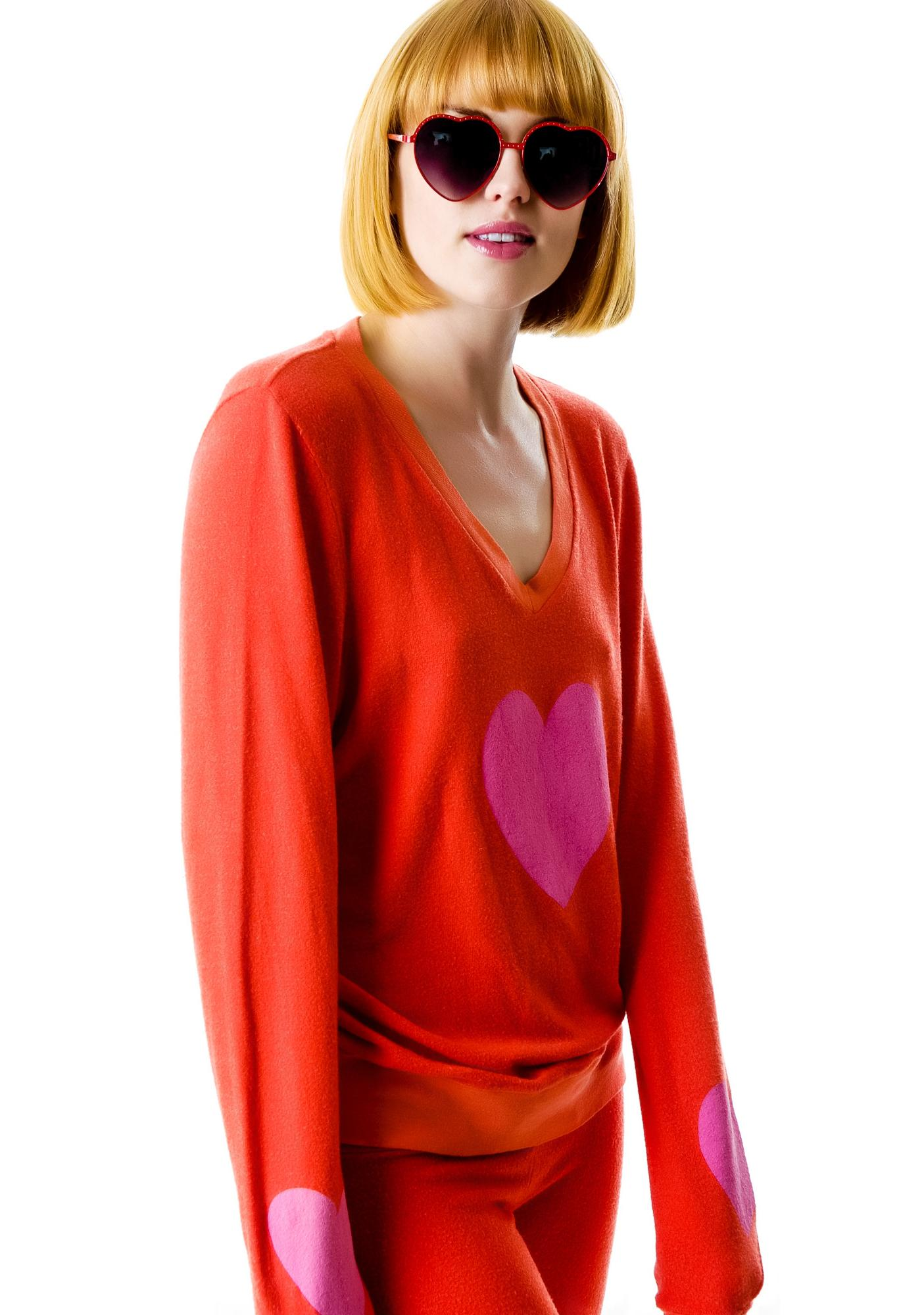 3c51a7b3f6 Wildfox Couture Happy Heart Baggy Beach Jumper | Dolls Kill