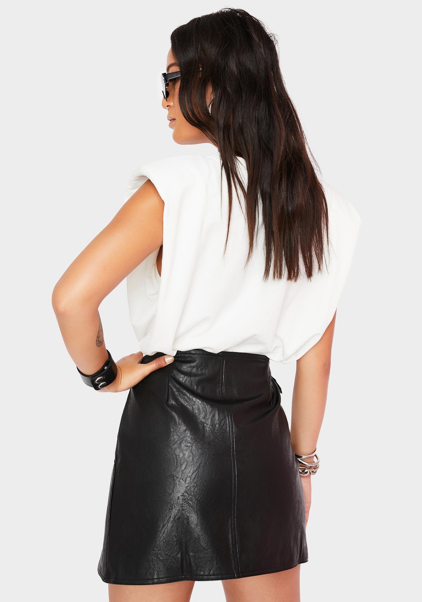 Twiin Distance Vegan Leather Wrap Skirt