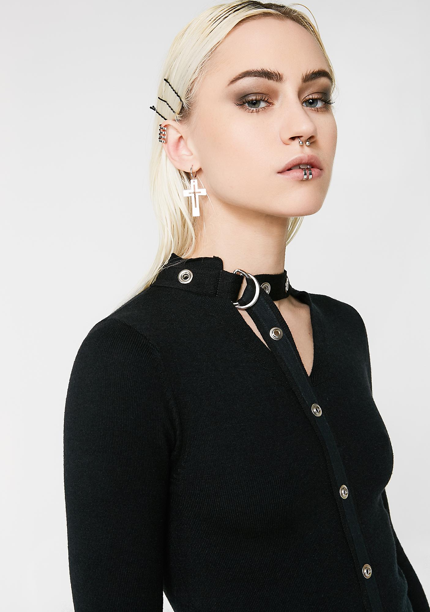 Punk Rave Diablo Split Stand Collar Sweater