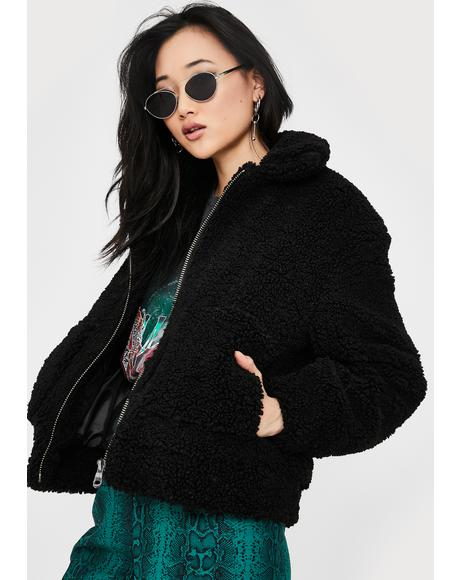 Black Faux Shearling Teddy Jacket
