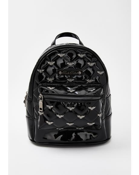 Black Bats Quilted & Studded Mini Backpack