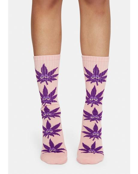 Pink Green Buddy Strains Crew Socks