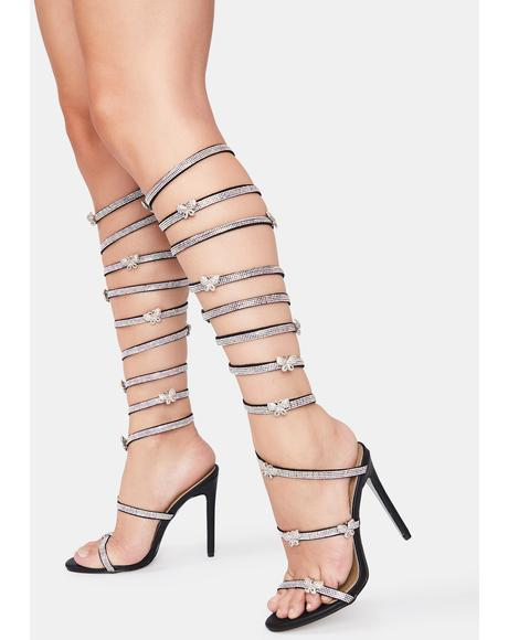 Going Up Butterfly Wrap Heels