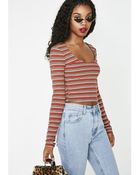 Cocoa A Whole Hottie Striped Top
