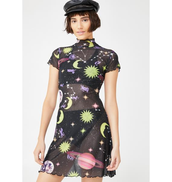 HOROSCOPEZ Midnight Astro World Mesh Dress