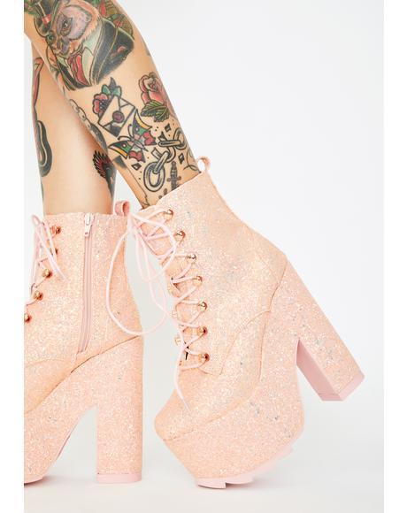 Pink Glitter Night Terror Platform Boots