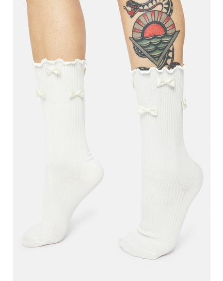Real Delight Bow Crew Socks