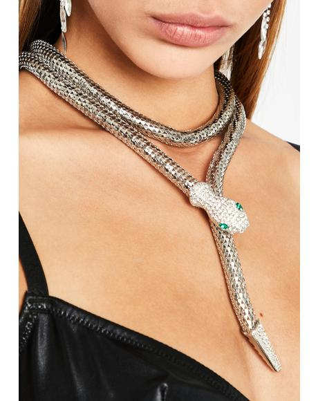 Snake Attack Wrap Necklace
