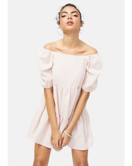 Peach Dreamy Girl Puff Sleeve Dress