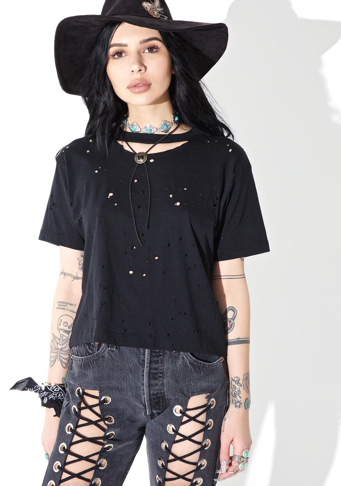 American Vintage Reworked Distressed Crop Tee