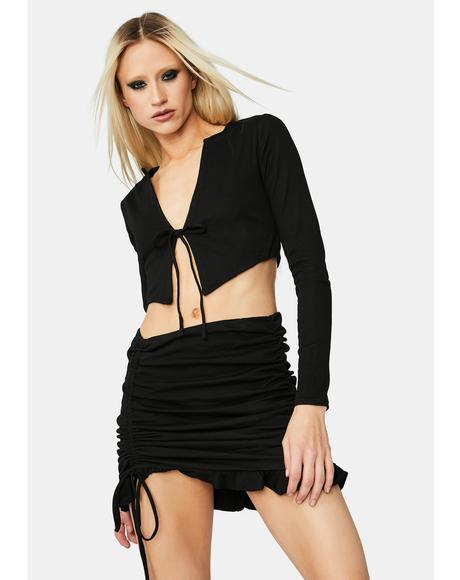 Wasted On U Ruched Skirt Set