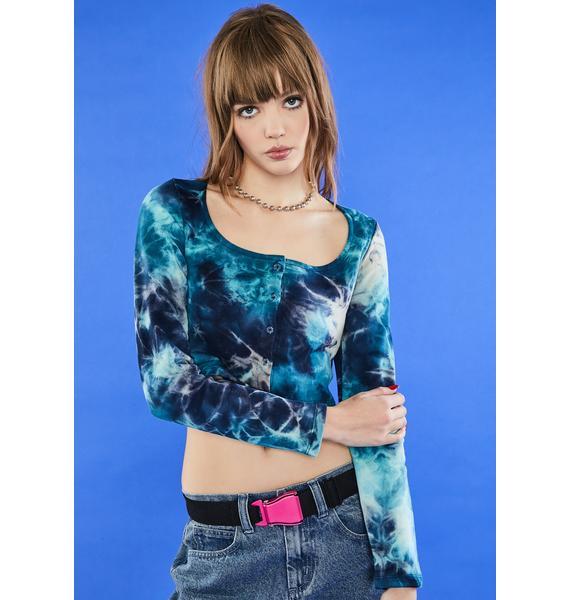dELiA*s by Dolls Kill Ocean Tide Is High Crop Sweater
