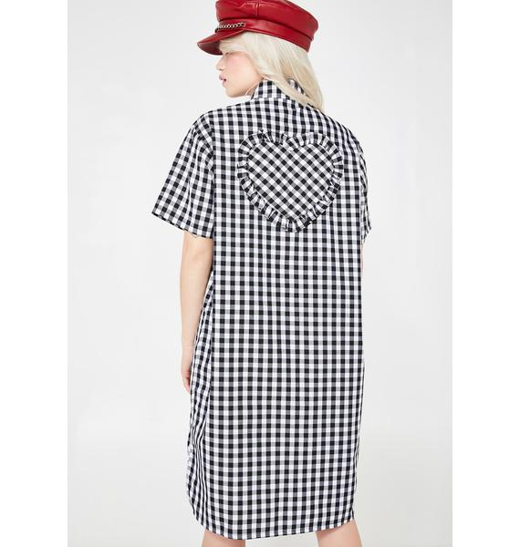 Lazy Oaf Gingham Heart Shirt Dress