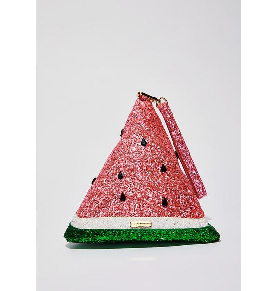 Skinnydip Sparkle Watermelon Clutch