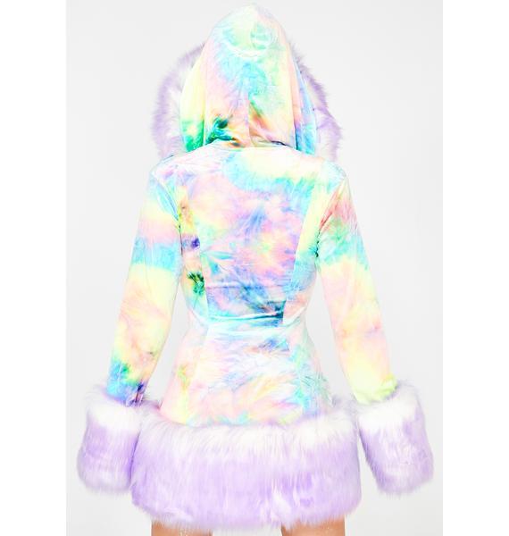 J Valentine Milky Rainbow Hooded Coat