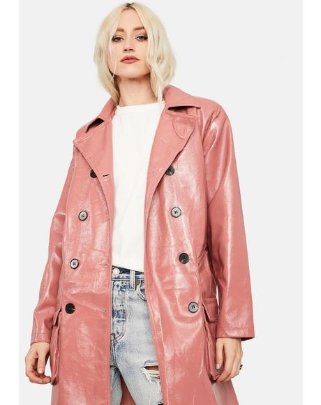 Rose Pink Vegan Leather Longline Coat
