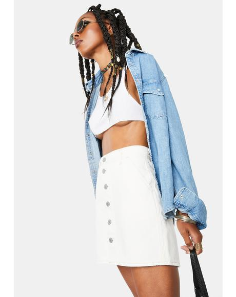 Button Front Utility Denim Skirt