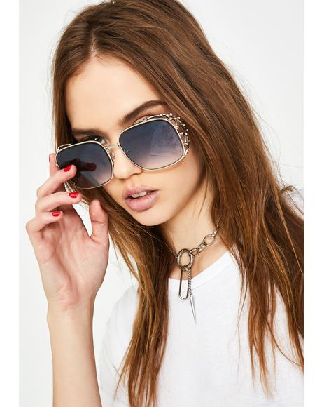 Platinum Ridin' Around Dipped Oversized Sunglasses