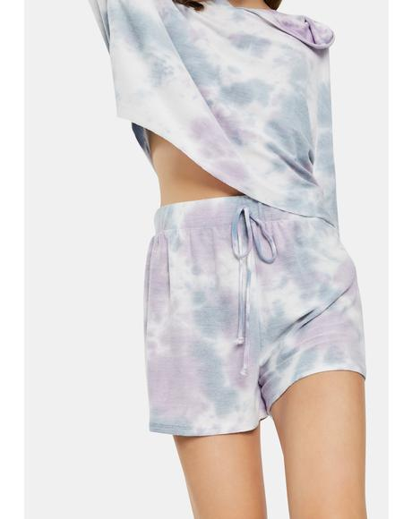 Purple Tie Dye Lounge Shorts