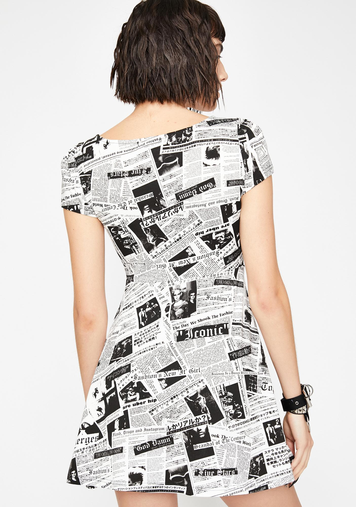 Current Mood Read All About It Newsprint Dress
