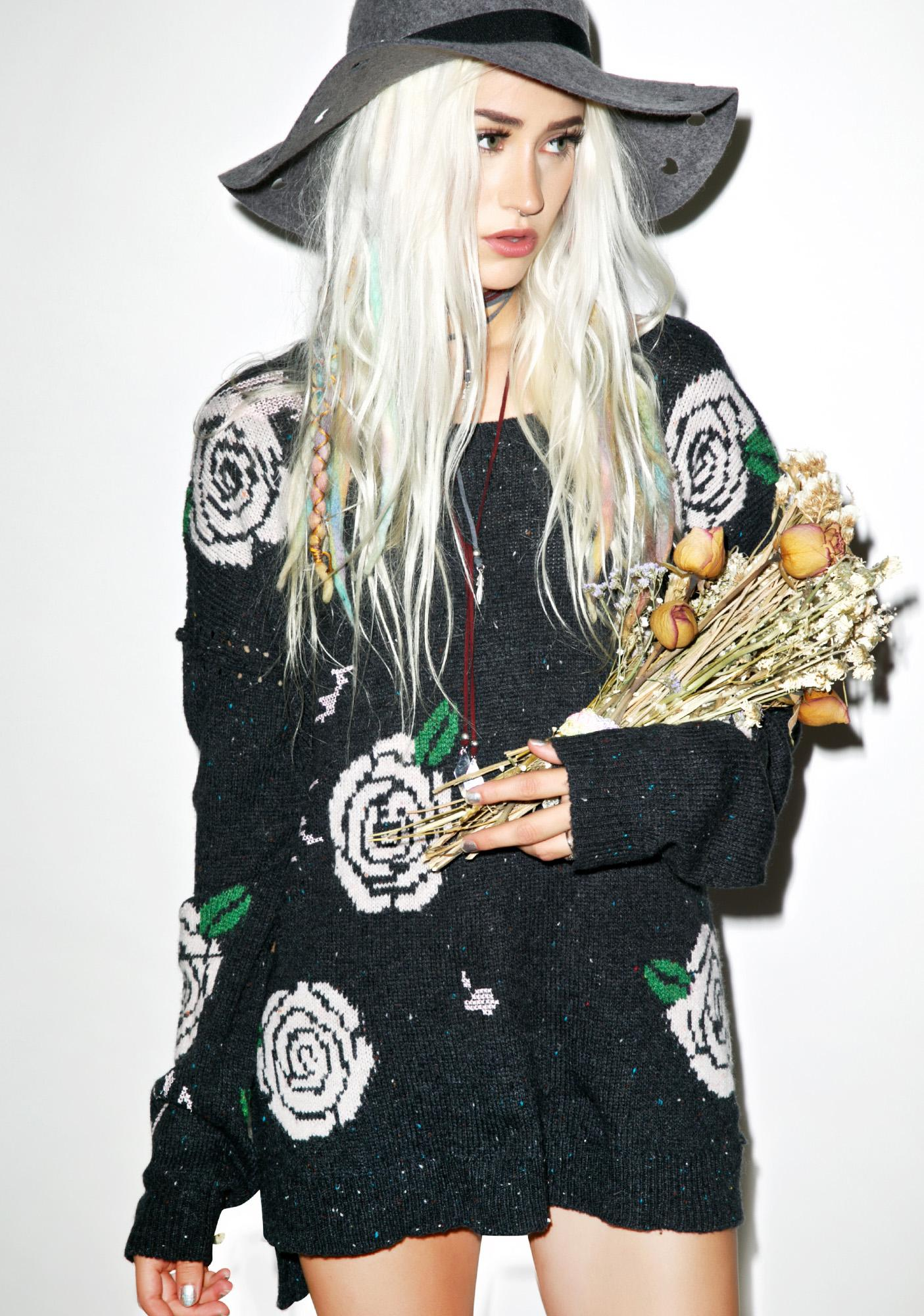 Wildfox Couture Shredded Roses Venice Canal Sweater