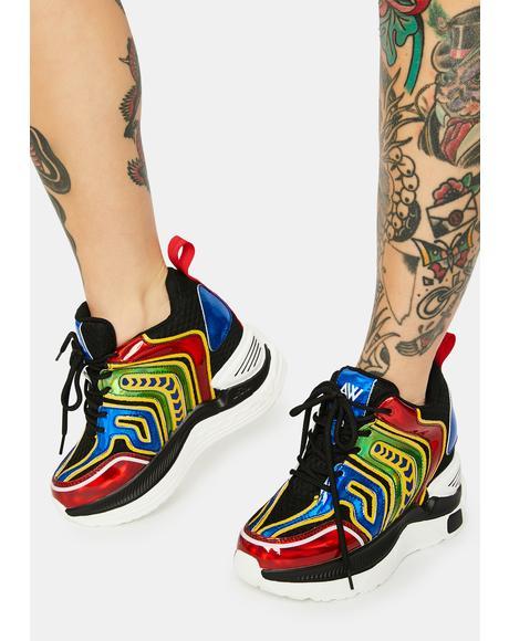 Rainbow Raisin Chunky Wedge Sneakers