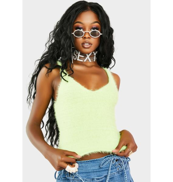 Re Named Key Lime Maddy Furry Tank Top