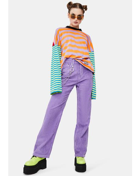 Purple Jumbo Corduroy Pants