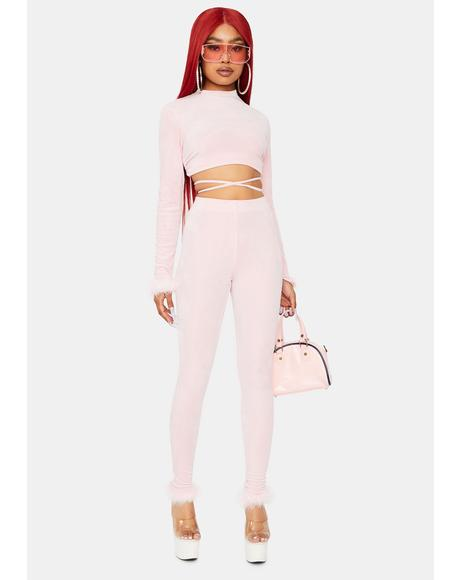 Blush All My Riches Velvet Pant Set