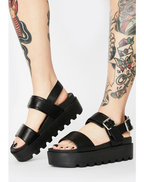 Black Sitri Chunky Platform Sandals