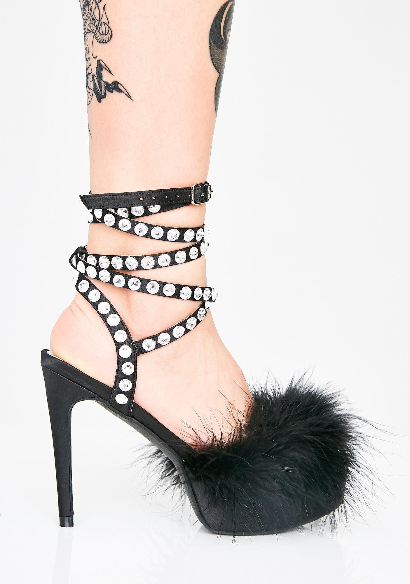 Sugar Thrillz Night Life Of Luxury Marabou Heels