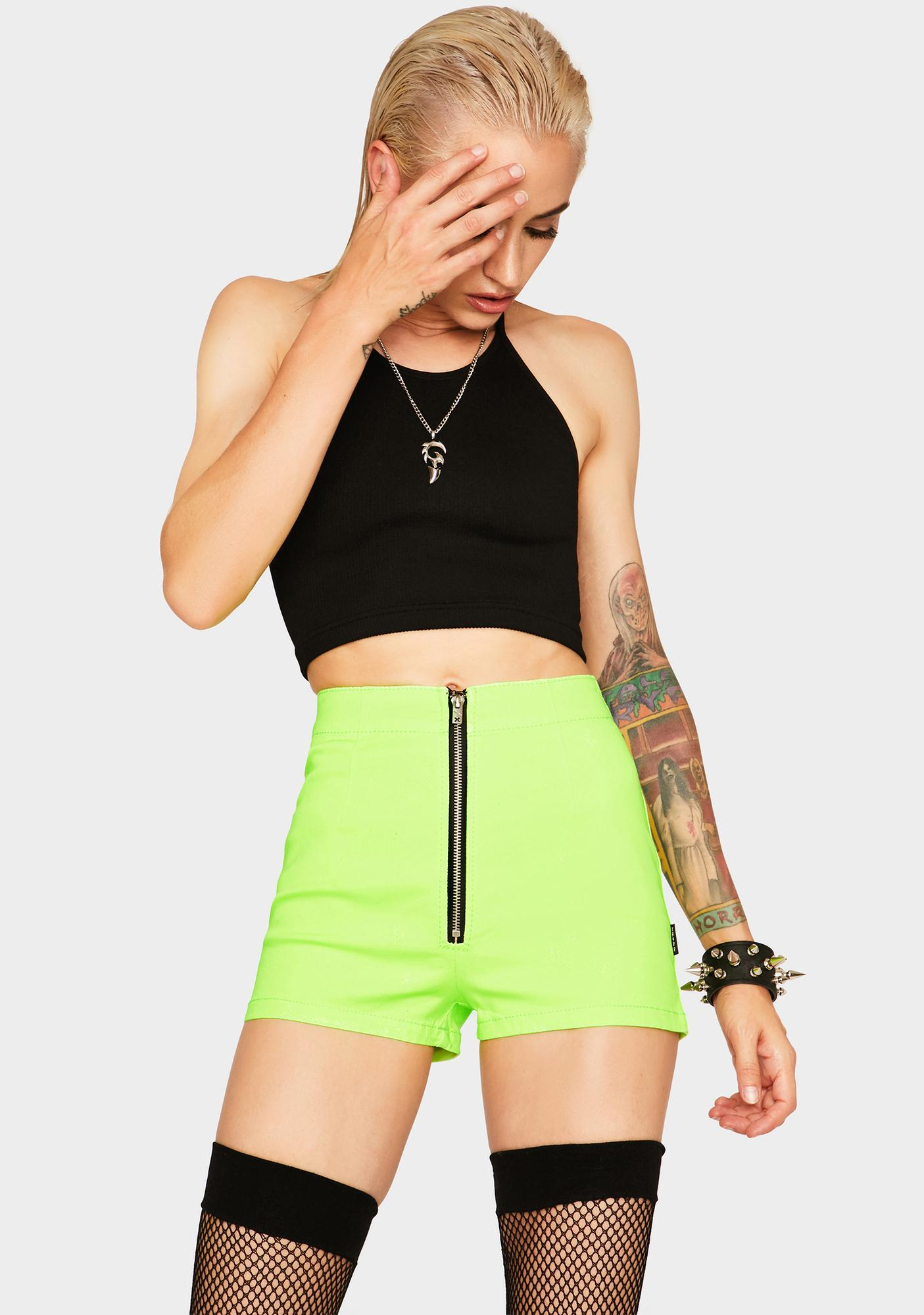 Tripp NYC Neon Lime Zip Shorts