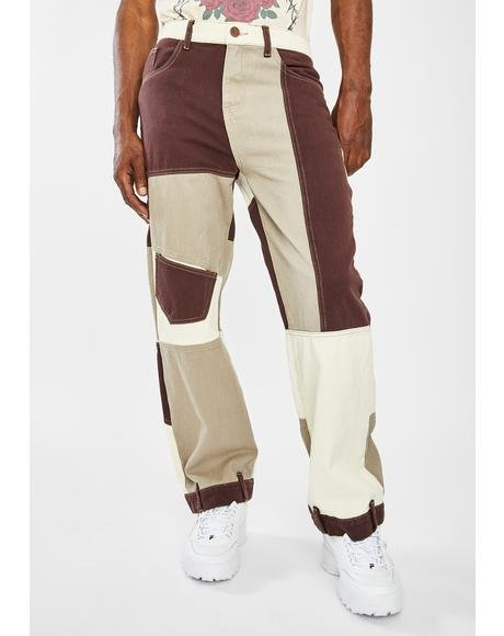 Brown Patchwork Skate Jeans