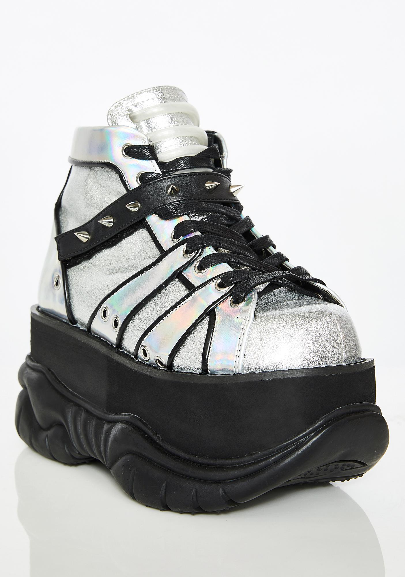 Demonia Chrome Machina UV Reactive Platform Sneakers