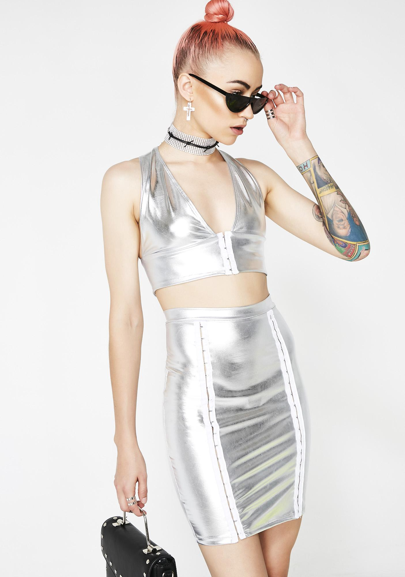 Cosmo Queen Metallic Crop Top