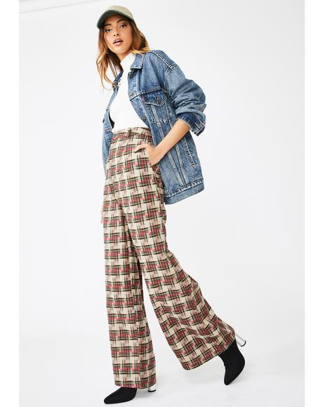Checker Print Wide Leg Trousers