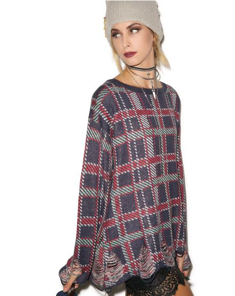 All Over Plaid Tight Knit