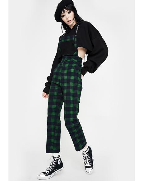 Green Check Chained Overalls