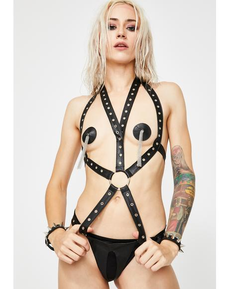 Harsh Desire Harness Bodysuit Set
