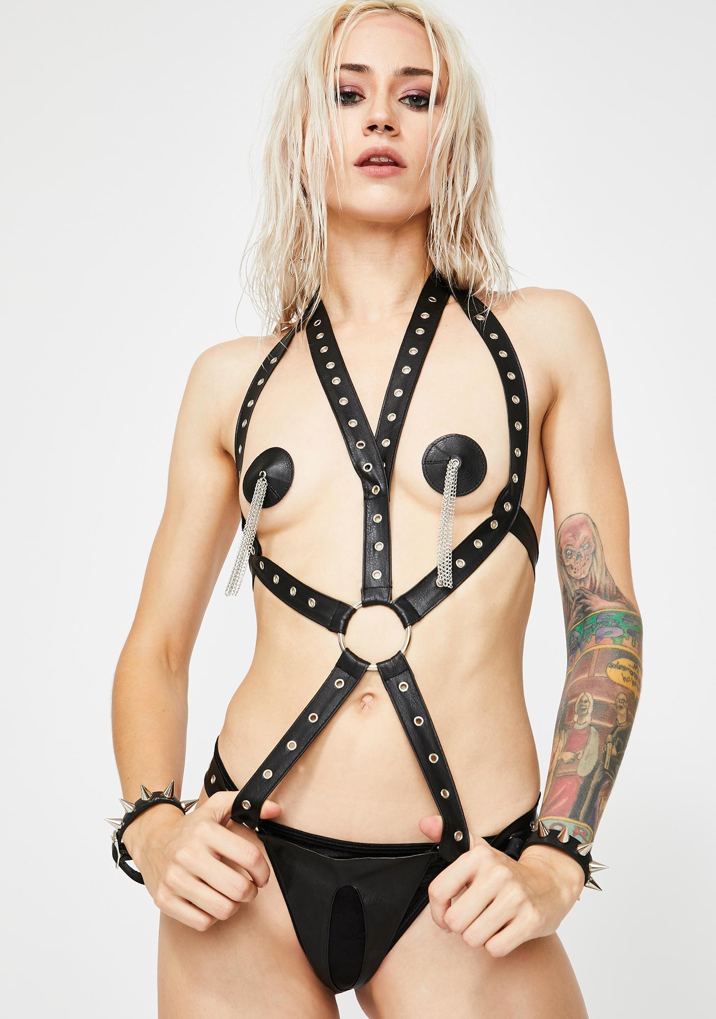 Harsh Desire Harness Bodysuit Set