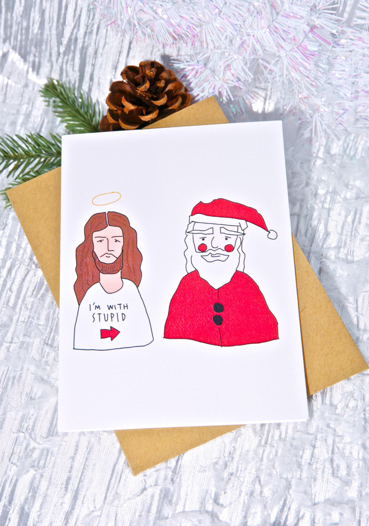 Funny Jesus Santa Christmas Card