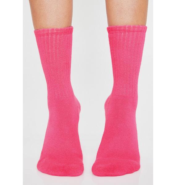 Lazy Oaf Neon Pink Happy Sad Crew Socks