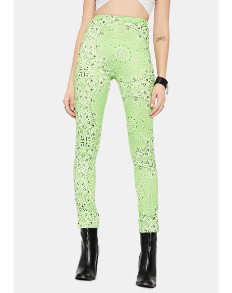 Lime Paisley Rodeo Leggings