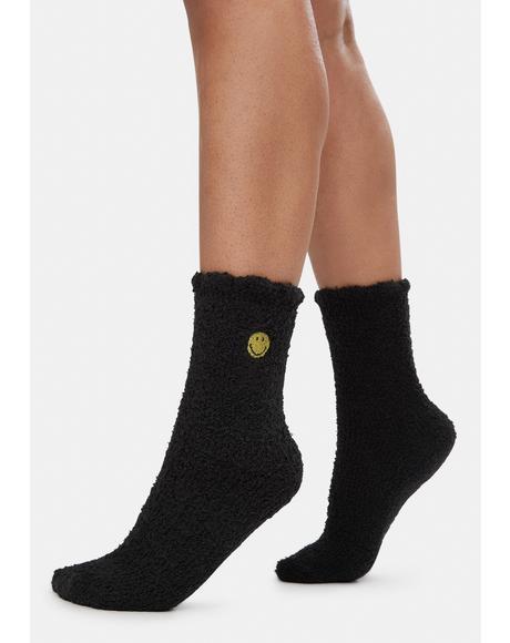 Smiles Fuzzy Crew Socks