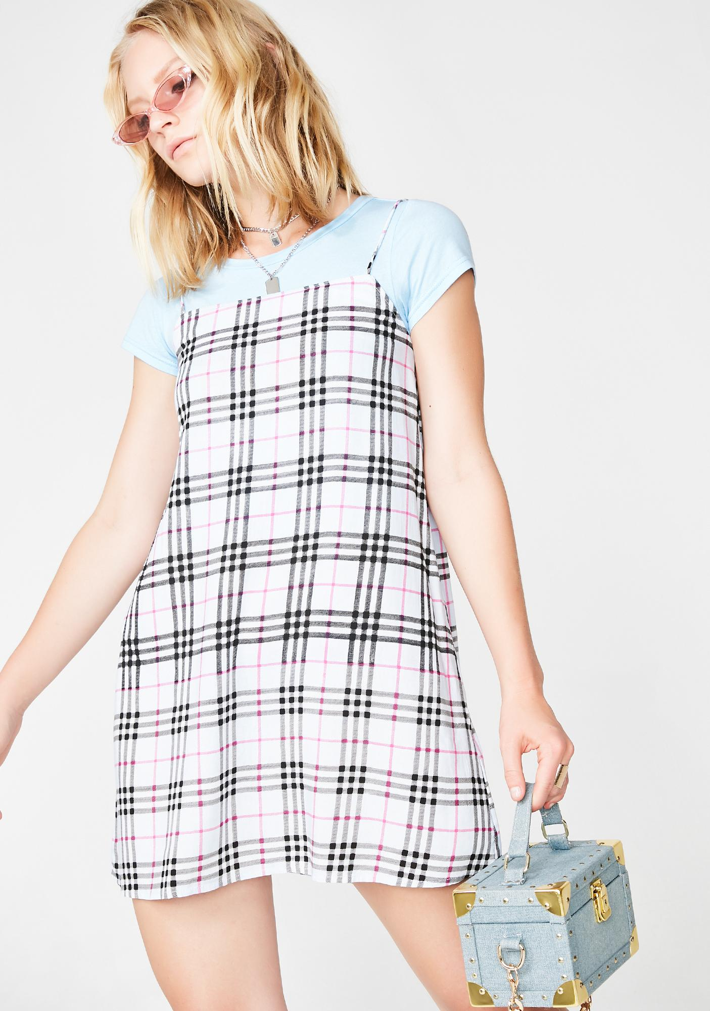 Motel Plaid Lura Slip Dress