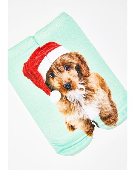 Santa Puppy Ankle Socks