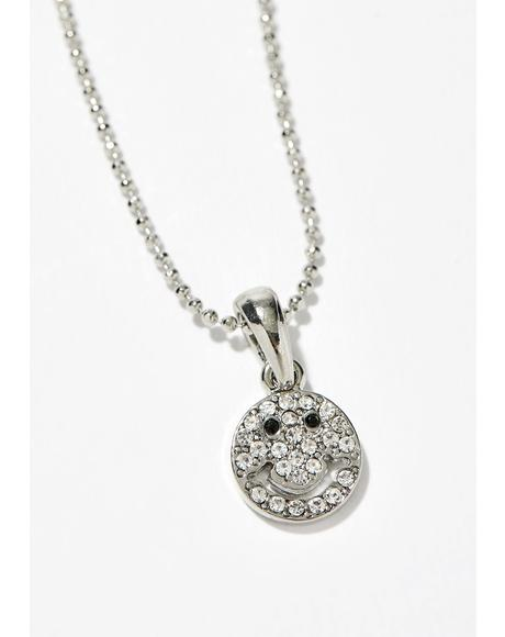 Smile On Rhinestone Necklace