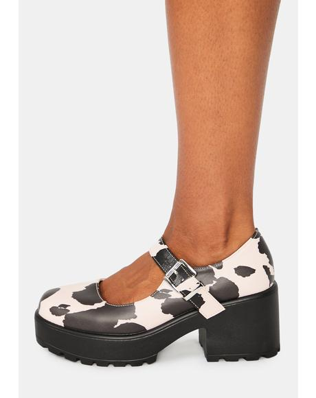 Pink Nettie Cow Print Mary Janes